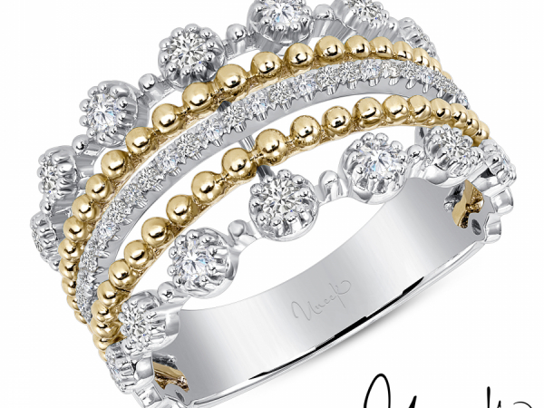 Uneek Stackable Diamond Band in 14K White and Yellow Gold - LVBAS3511YW by Uneek Jewelry