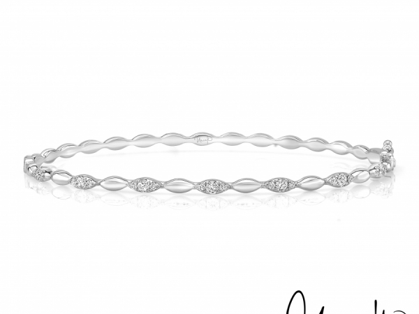 Uneek Silver Lake Stackable Diamond Bangle in 14K White Gold - LVBAWA334W by Uneek Jewelry