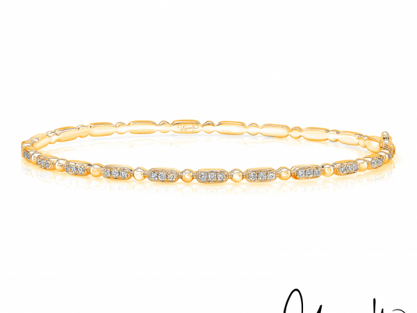 Uneek Rodeo Stackable Diamond Bangle in 14K Yellow Gold - LVBAWA837Y by Uneek Jewelry
