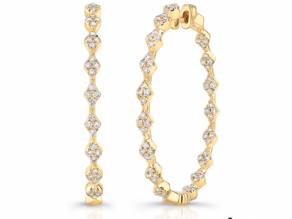 Uneek Diamond Hoop Earrings in 14K Yellow Gold - LVEWA2310Y by Uneek Jewelry