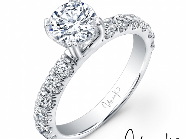 Uneek Classic Round Diamond Engagement Ring with U-Pave Upper Shank, in 14K White Gold - USM02-6.5RD by Uneek Jewelry